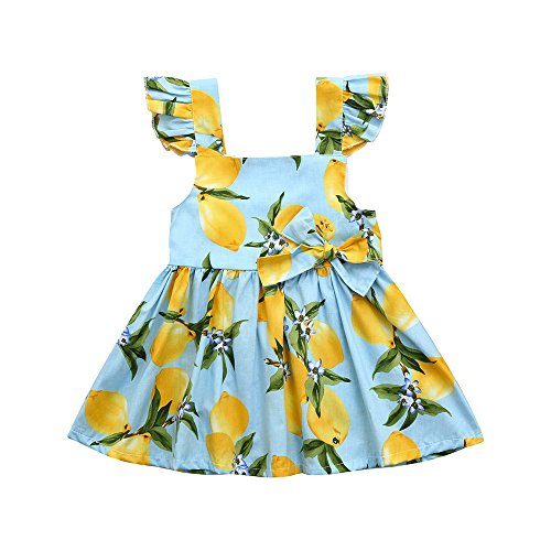 sunnymi - Vestido de Verano para niña, para bebés, niñas, Vestido de Princesa, Casual Azul Celeste 5 años