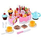 Tomasa 54 Stück Kuchen und Tee Becher Set, Kinderspielzeug Kitchen Spielzeug Kunststoff DIY Frucht Kuchen Geburtstagstorte Spielset (Pink)