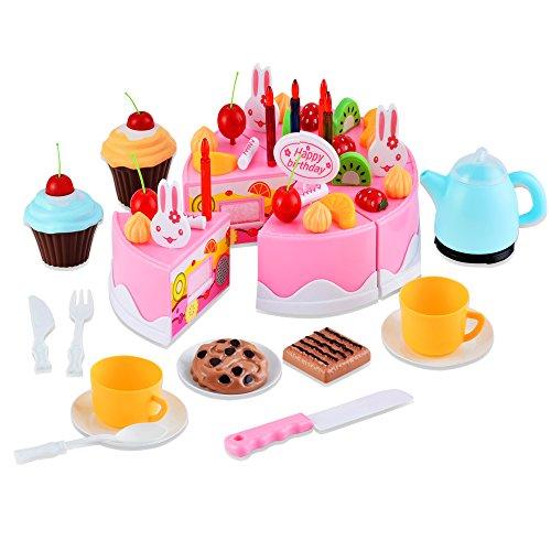 Profun Jouet Cuisine 54 Piece Arc-en-Anniversaire Gâteau Alimentaire Enfants Pretend Gâteau Thé Set Gâteau d'anniversaire Cadeau pour Enfants Fille