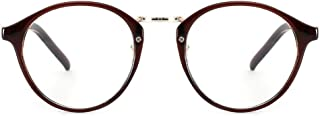 Cyxus Classic Round Plain Glasses, Transparent Lens Fashion Eyewear Unisex(Brown, 51)