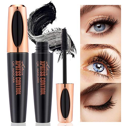 OKENTEN Mascara, 4D Silk Fiber Lash Mascara, Black Lengthening Mascara,Long Lasting Waterproof Smudge-proof Eyelashes Mascara, Adds Length, Depth and Glamour Effortlessly