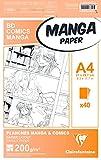 Clairefontaine Manga BD/Comic-Bloc de Notas (A4, 200 g), Color Liso, Papel, Blanco