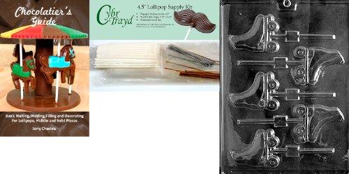 Cybrtrayd Rollschuhe Lolly Schokolade Form mit Chocolatier 's Bundle, inklusive 50Lollipop Sticks, 50Cello Taschen, 25gold & 25silber Twist Krawatten und Chocolatier 's Guide