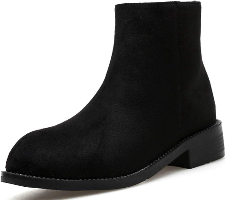 Shiney Women's Martin Boots Classic Chunky Heel Suede Autumn Winter