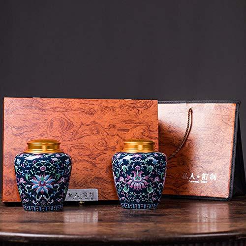 Ksnrang Keramik-Teedosen, emaillierte kandierte Obstdosen, allgemeine Aufbewahrungsdosen, Sammlung hochwertiger Geschenksets, Private Anpassung-Klassischer Blauer Anzug