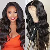 QTHAIR 14A Lace Frontal Wigs 180% Density Human Hair Wigs Pre Plucked Natural Hairline with Baby Hair Brazilian Body Wave 20' Natural Black Color 100% Unprocessed Virgin Brazilian Hair Wigs