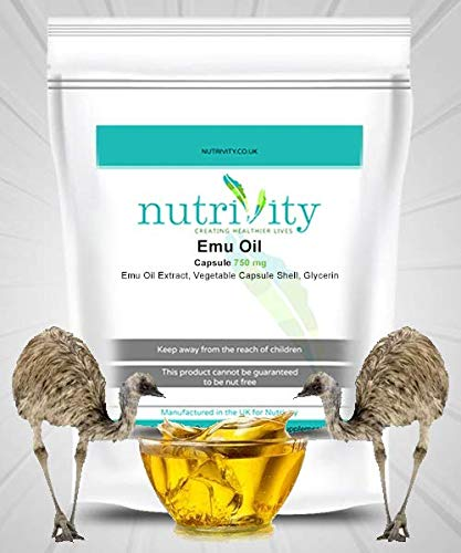 Emu Oil 750mg Capsules Made Natural Emu Fat Joint & Muscle Pain Supplement by Nutrivity (60)
