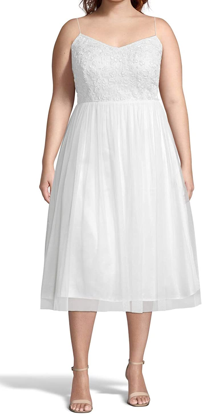Adrianna Papell Women's Beaded Floral Dress with Tulle Skirt Ivory Plus Size 18W