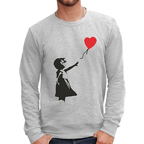 MUSH Sweatshirt Banksy Herz-Ballon - BerŸhmt by Dress Your Style - Herren-M Grau