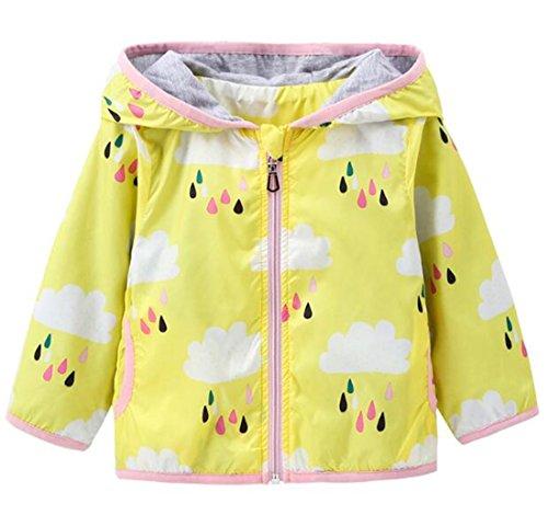 Kids Baby Girls Rain Cloud Print Windproof Hooded Coats Sunscreen Cloak Zipper Jackets size 2-3Years/Tag100 (Yellow)