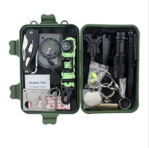 LHFJ Outdoor Survival Kit 19 in 1 Mehrzweck-Notfallausrüstung Erste Hilfe Survival Tool Kits Set für Outdoor-Reisen Wandern Camping Biking Klettern