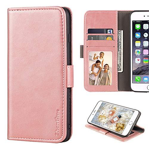 Leagoo Z6 Hülle, Leder Brieftasche Hülle mit Bargeld und Kartenfächern Weiche TPU Backcover Magnet Flip Hülle für Leagoo Z6, rose