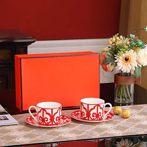 Weinglas Kaffeetasse Becherred Coffee Cup Set With Orange Box Bone China Tea Cups And Saucers Porcelain Luxury Wedding Birthday Gif