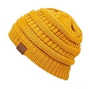 C.C Exclusives Cable Knit Beanie – Thick, Soft & Warm Chunky Beanie Hats (Mustard)
