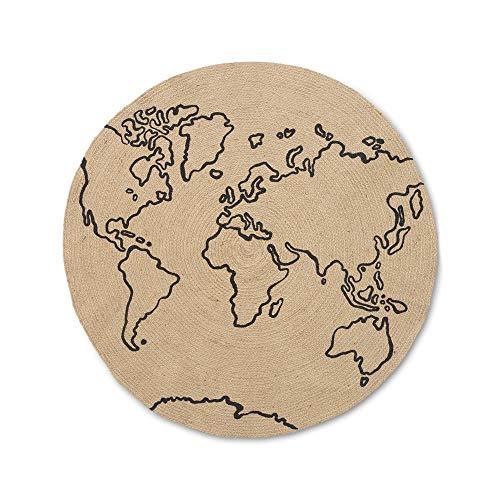 Ferm Living Alfombra de yute World pequeña, diámetro de 100 cm