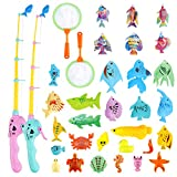 AUUGUU Magnetic Fishing Pool Toys for Kids-Colourful Floating Plastic Sea Animals Fishing Game, Suitable for Kiddie Pool, Bathtub ,Outdoor ,Table Game,Learning, Gift for Age 3 4 5 6 Year Old (Large)