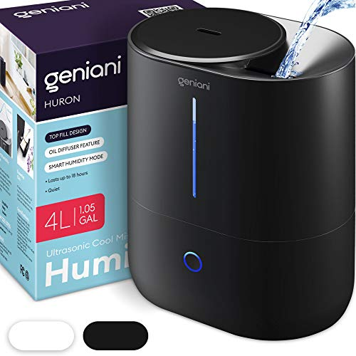 GENIANI Top Fill Cool Mist Humidifiers for Bedroom & Essential Oil Diffuser - Smart Aroma Ultrasonic Humidifier for Home, Baby, Large Room with Auto Shut Off, 4L Easy to Clean Water Tank (Black)