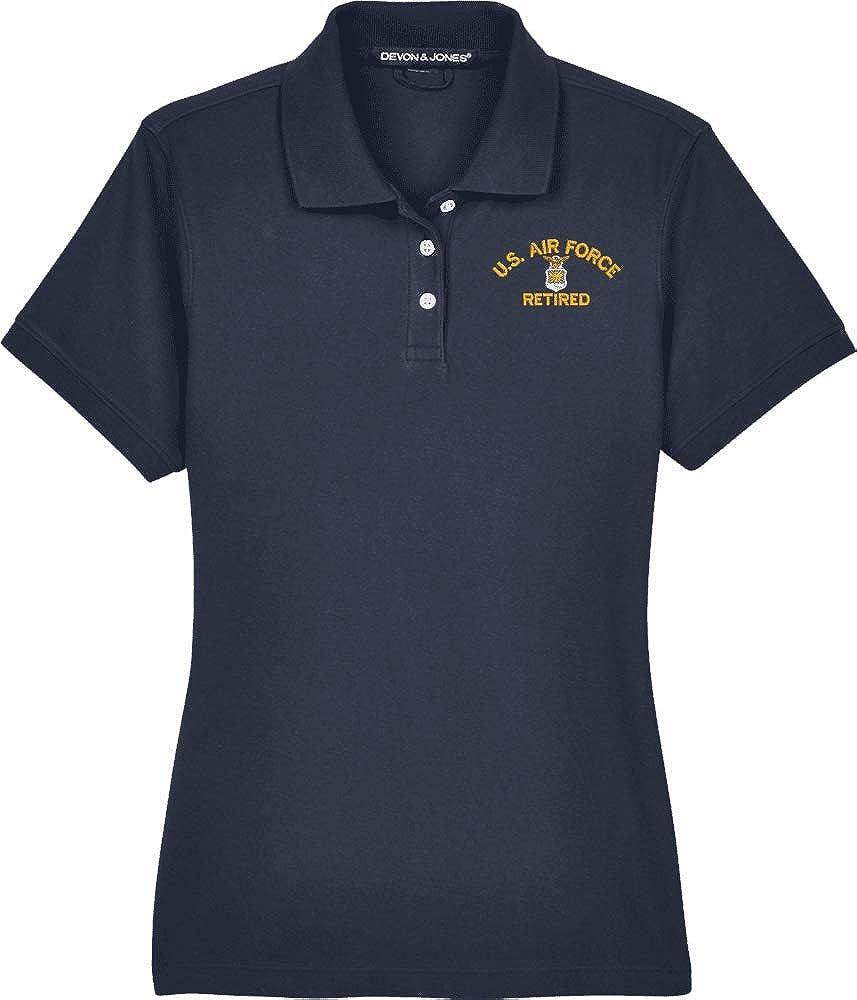 United States Air Force Emblem Retired Women's Devon & Jones Polo Navy