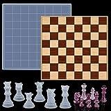 Dreamtop Juego de moldes de resina para tablero de ajedrez, 1 tablero de ajedrez, molde de fundición epoxi con 6 piezas de ajedrez 3D moldes de silicona para fundición de resina, joyería, manualidades