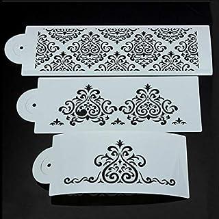 HoganeyVan 3 Unids DIY Filigrana Damasco Flor Cake Stencil Tallado Craft Fondant de Impresión Del Molde