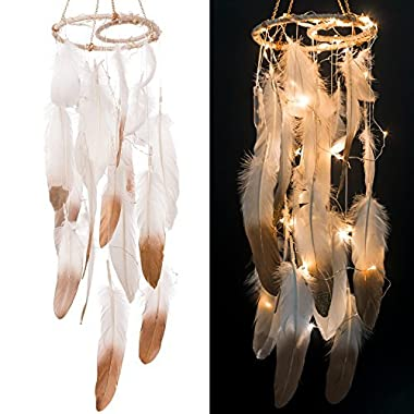 Ling's moment Feather Dream Catcher Mobile LED Fairy Lights Battery Powered Hanging Ornaments Gold Dipped Glitter Feathers Bohemian Wedding Decorations, Boho Chic, Nursery Decor