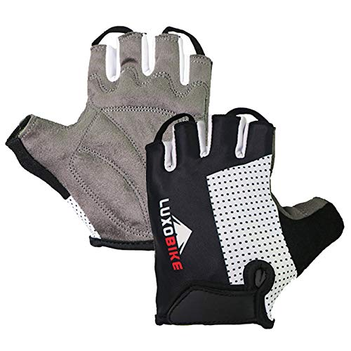 LuxoBike Cycling Gloves (Black - Half Finger, Small)