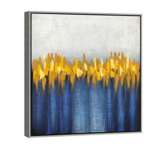 Wieco Art AB1127-6060-SF - Cuadro de pintura al óleo sobre lienzo, diseño moderno 100% pintado a mano con marco plateado