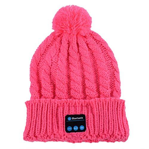 Sagiwo Women Winter Warm Beanie Hat Wireless Bluetooth Smart Cap Headphone Headset Speaker Mic Pink