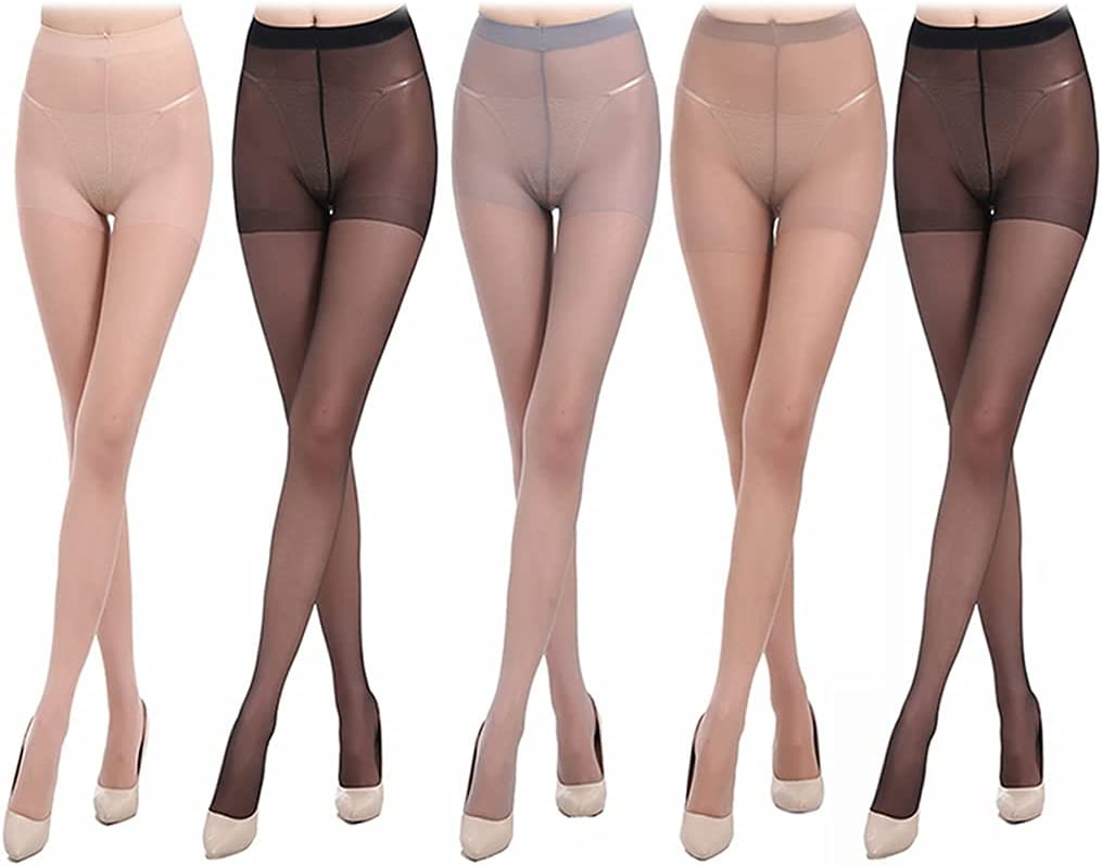 Dorakitten Women Control Top Pantyhose Breathable 5 Pairs Smooth Elastic Soft Compression Sheer Tight High Waist Pantyhose