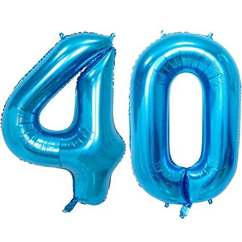 DIWULI, XXL aantal ballonnen, nummer 40, Ijsblauwe ballonnen, aantal ballonnen, folieballonnen aantal jaren, folieballonnen blauw voor 40e verjaardag, bruiloft, feest, decoratie, geschenkdecoratie