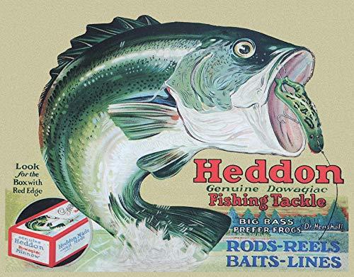 "Desperate Enterprises Heddon Fishing Tackle - Frogs Tin Sign, 16"" W x 12.5"" H"