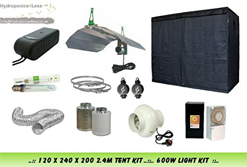 Lumii Complete Hydroponic Grow Room Tent Fan Filter 600w Light Kit 120x240x200 (1.2x2.4x2Meter (120x240x200) )