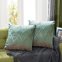 Juego de 2 Fundas de Cojín Funda de Almohada Lino de algodón Decorativa Geometría Moderna con Cremallera Invisible Funda de Cojín Juego de de Cojines para Sala de Estar Sofás (45CM*45CM Verde)