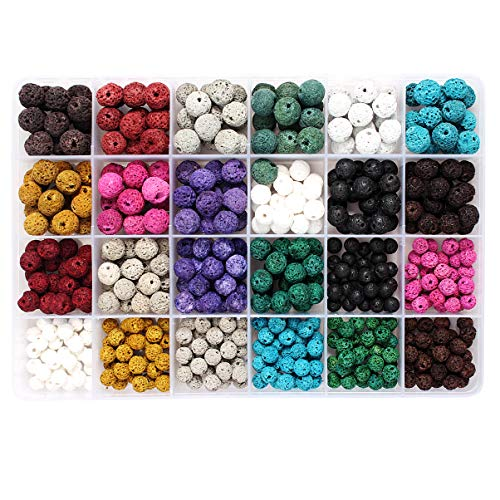 515pcs Multicolor Natural Lava Beads for DIY Essential Oils Jewelry Making
