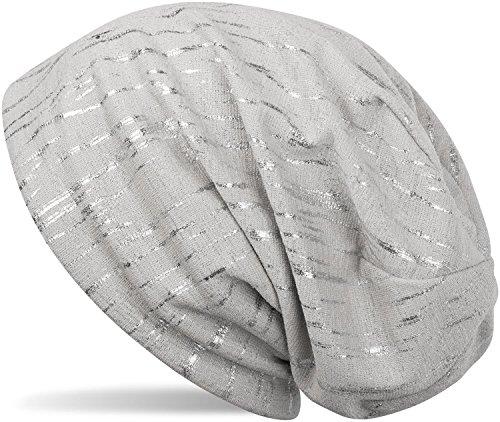styleBREAKER Beanie Mütze mit Metallic Streifen, Slouch Longbeanie, Unisex 04024120, Farbe:Hellgrau