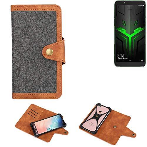 K-S-Trade® Handy-Hülle Für Xiaomi Blackshark Helo Schutz-Hülle Filz-Hülle Kunst-Leder Dunkelgrau Braun (1x)