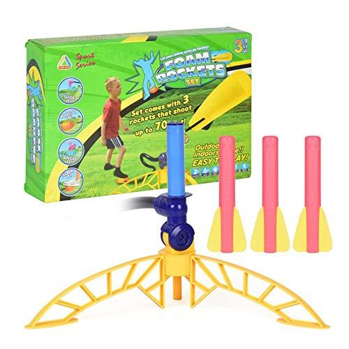 QUUY Air Rocket, extractor de aire, pedales de plástico, tipo Rocket, con cohete y 3 cohetes de espuma, juguete educativo para estudiantes