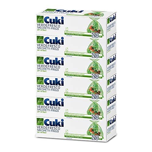 Cuki Verdefresco Sacchetti Frigo - 29 X 42 Cm - 6 Confezioni da 20 Pezzi - 810 g