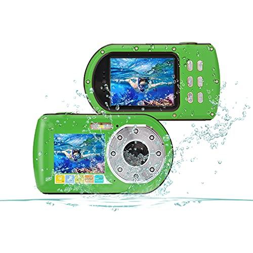Cámara Impermeable FHD 1080P 24 MP, cámara Digital subacuática con Zoom 16x, grabación DV de Doble Pantalla Selfie 10M (100 Pulgadas) cámara Digital de acción Impermeable (Green)