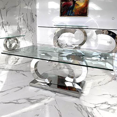 Christy CC Designer Couchtisch Edelstahl Wohnzimmertisch Glastisch Tisch - 100x100x45 cm