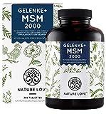 NATURE LOVE MSM 2000mg mit Vitamin C - 365 laborgeprüfte Tabletten - Kompakteres MSM Pulver als bei Kapseln - u.a. für Gelenke* - Ohne Zusätze, hochdosiert, vegan, in Deutschland produziert