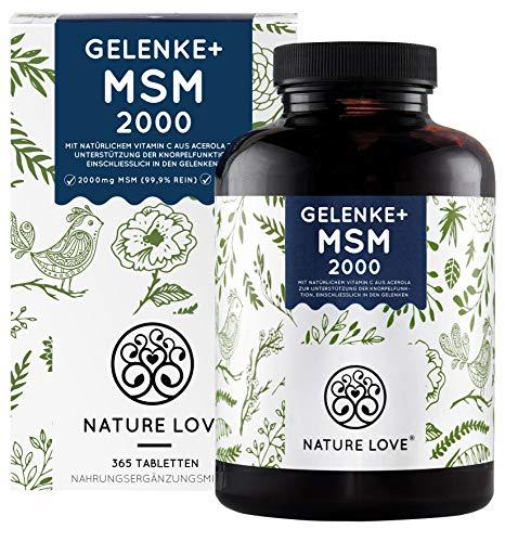 MSM 2000mg mit Vitamin C pro Tagesdosis - 365 laborgeprüfte Tabletten - Kompakteres MSM Pulver als bei Kapseln -u.a. für Gelenke*- Ohne Zusätze, hochdosiert, vegan, hergestellt in Deutschland