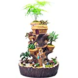 Jardinera Suculenta de Resina, Macetas de Escultura de Casa de Árbol con Luz Solar, Contenedor de Cactus de Tocón Artificial, Maceta de Tronco de Tronco, Maceta Decorativa para Jardín de Casa