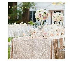 Champagne Blush Rectangular Sequin Tablecloth