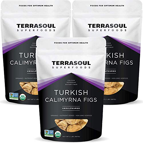 Terrasoul Superfoods Organic Turkish Figs (Calimyrna), 6 Lbs (3 Pack) - No Added Sugar   Unsulphured   Perfectly Dried