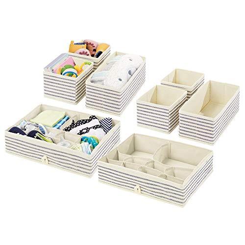 mDesign Juego de 8 Cajas organizadoras para Cuarto Infantil – Elegantes cestas de Tela para almacenaje en Diferentes tamaños – Organizadores para armarios de Fibra sintética Transpirable – Crudo/Azul
