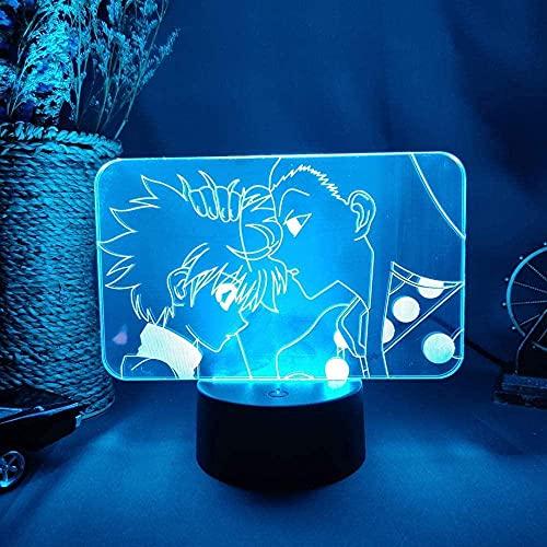 MENG Zoldyck Family Brothers Killua Amp; Amp Irumi Siluetas Illusion 3D Lámpara de Noche Otaku Dormitorio Escritorio de la Cama Decoración de la Mesa Luz de Noche 3D Luz de Noche