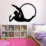 wZUN Gymnastique Cerceau Stickers muraux Fitness Sport Fille Chambre Gym décoration Vinyle Autocollant Silhouette Murale 50X72 cm