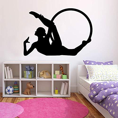 JXMN Gymnastik Reifen Wandtattoo Fitness Sport Mädchen Schlafzimmer Gym Innenraum Tür und Fenster Vinyl Aufkleber Silhouette Wandbild 63x90cm