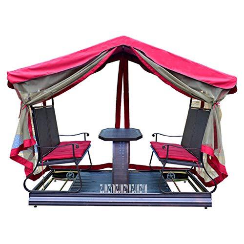PSSYXT Fauteuil à Bascule Chaise à Bascule extérieure Cour Balcon Fer Art Table Chaise Rotin Hamac Chaise Suspendue Swing extérieur, vin Rouge